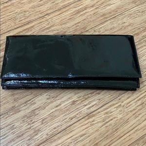 Aldo black patent leather clutch